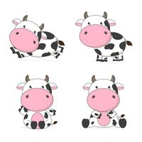Cute cow cartoon character vector illustration