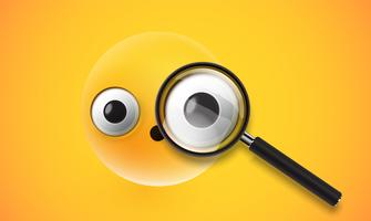 Yellow high detailed emoticon with a realistic magnifyer, vector illustration