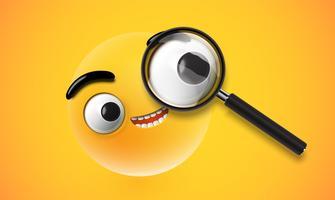 Emoticon amarillo alto detallado con un magnificador realista, ilustración vectorial