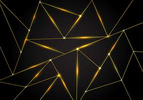 Luxury polygonal pattern and gold triangles lines with lighting on dark background. Geometric low polygon gradient shapes.