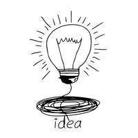 Mão, desenhado, ícone lâmpada