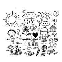 Icona di doodle di tiraggio della mano di bambini
