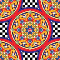 Seamless trendy bright background. Colorful ethnic round ornamental mandala on checkered pattern. Vector illustration
