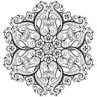 Beautiful round ornamental element for design in black and white colors. Vector illustration