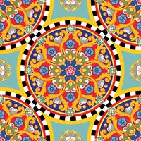 Seamless bright background. Colorful ethnic round ornamental mandala. Trendy pattern. Vector illustration