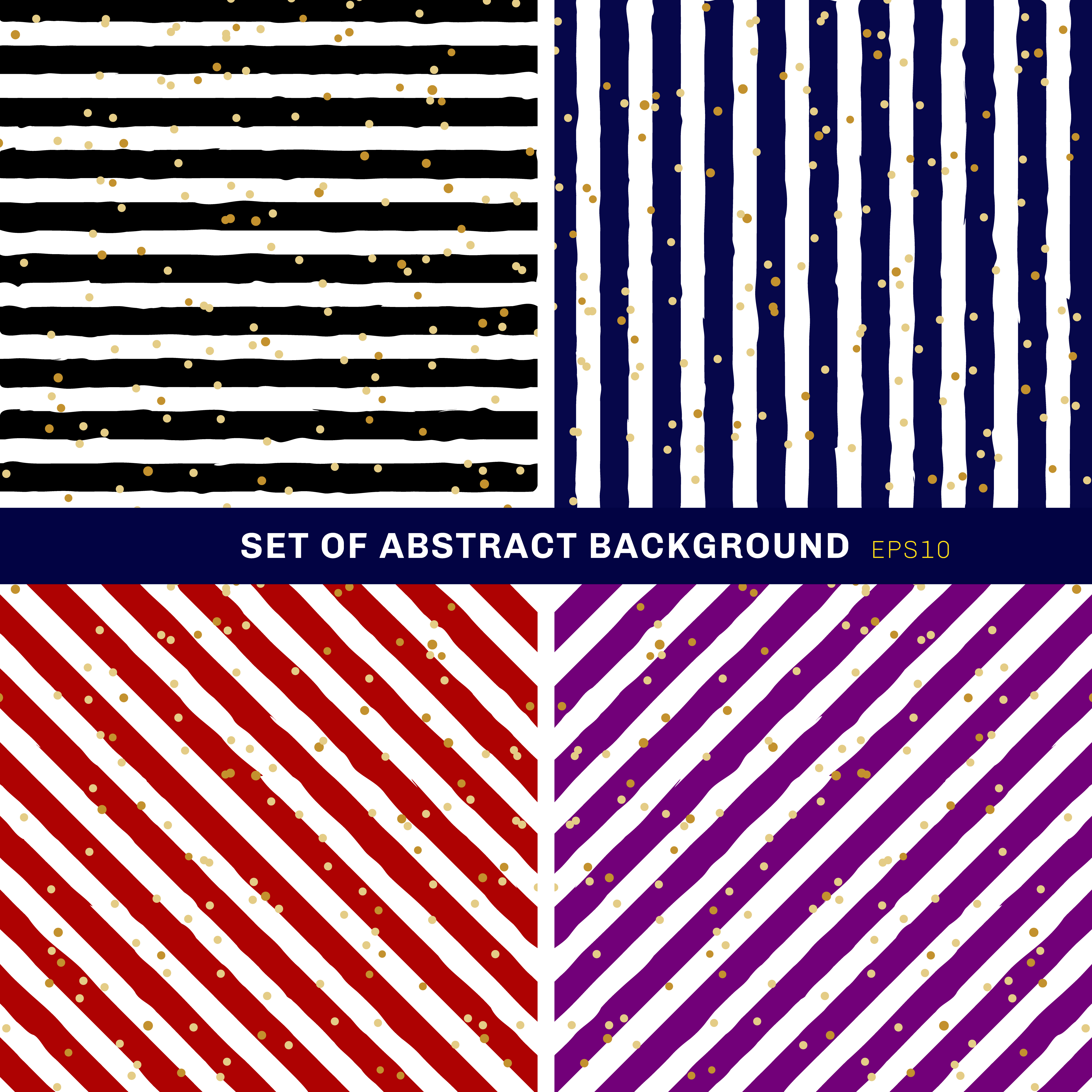 Set Of Abstract Black Blue Red Purple White Striped On Trendy Background With Random Gold Foil Dots Pattern You Can Use For Greeting Card Or Wrapping Paper Textile Packaging Etc Download