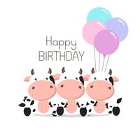 Birthday Greeting card Cute Cows with balloons