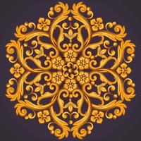 Beautiful round ornamental element for design in yellow orange colors.