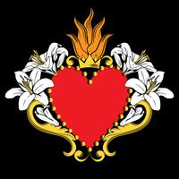 Sacred heart of Jesus. Beautiful red ornamental heart with lilies, crown in isolated on black background. Vector illustration
