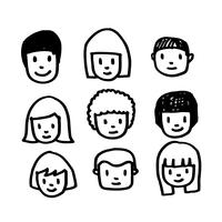 People face icon hand draw