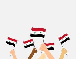 Illustrazione vettoriale mani tenendo le bandiere della Siria su sfondo grigio