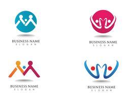 Logo di adozione e icona di vettore del modello di cura della comunità