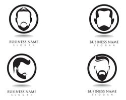 masculine beard black hair geek logo and symbol