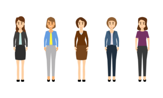Businesswoman character in different poses set.