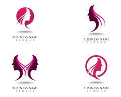 logotipo de mulher e rosto de cabelo e símbolos