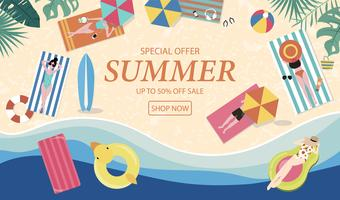Summer sale background with tiny people,umbrellas, ball,swim ring,sunglasses,surfboard,hat,sandals in the top view beach.Vector summer banner