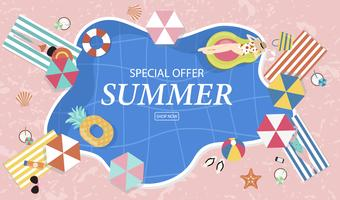 Fond de vente d'été avec des personnes minuscules, parapluies, ballon, anneau de bain, lunettes de soleil, étoile de mer, chapeau, sandales dans la piscine vue de dessus. Bannière d'été vecteur