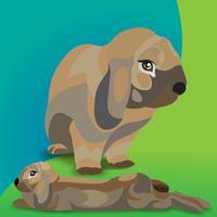 Coelho realista de vetor. Ilustração de coelhos para o projeto de Páscoa e decoração, cartões, cartazes, web.