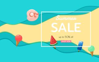 Top view blue sea paper waves and beach sale advertising design.