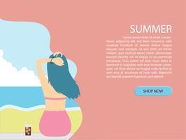 Sommerhintergrund mit hinterer Ansicht des jungen Mädchens des Bikinis am Strand und am Meer schnitten Art.