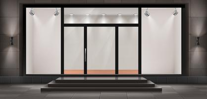 Vector storefront, empty illuminated showroom