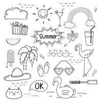 Dibujado a mano Doodle verano conjunto de vectores. Doodle conjunto divertido. Ilustración vectorial hecha a mano
