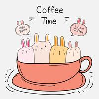 Cute Bunny In The Cup. Coffee Time Vector Illustration.
