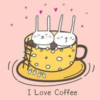 Cute Bunnies In The Cup. Ik hou van koffie. Koffie tijd vectorillustratie.