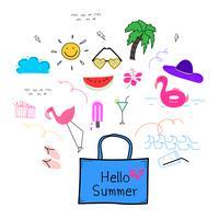 Hand getrokken Doodle zomer Vector Set. Doodle grappige set. Handgemaakte vectorillustratie.