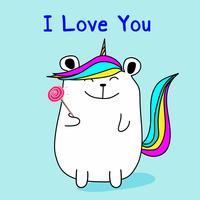 Lindo oso de unicornio dice te amo. Ilustracion vectorial