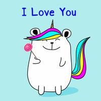 Cute Bear Unicorn Say I Love You. Vector illustratie.