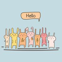 Cute Bunny Say Hello Set. Vector illustratie.