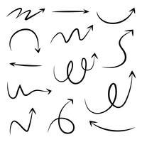 Set van hand getrokken verschillende pijl. Doodle stijl vectorillustratie.