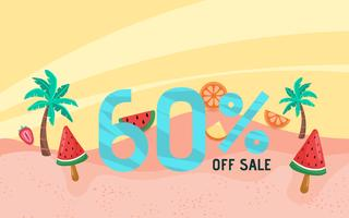 Summer sale banner holiday with beach scene