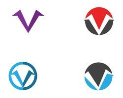 Logotipo de negócios logotipo V e modelo de símbolos