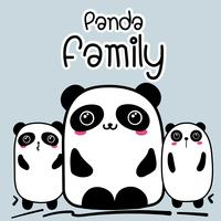 Cute Cartoon Panda Family Background. Illustrazione vettoriale