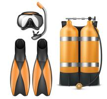 Vector diver equipment, snorkel mask and flippers
