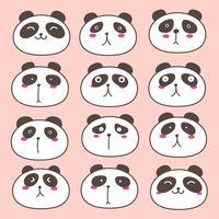 Hand getrokken schattige Panda tekens instellen. Vector illustratie.