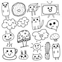 Kawaii Doodle For Kids. Illustration vectorielle dessinés à la main.