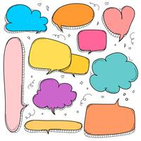 Handdragen bubblor. Doodle Style Comic Balloon, Cloud, Heart Shaped Design Elements.