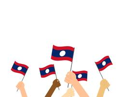 Vector illustration hands holding Laos flags on white background