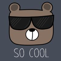 Cool Bear With Sunglasses Vector Illustration.