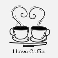 I Love Coffee Hand Drawn Vector Illustration. Doodle Art.