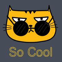 Cool Cat With Sunglasses Vector Illustration.