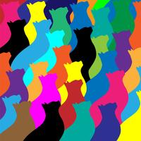 Colorful Cat Collage Pattern Vector Illustration
