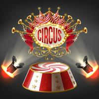 Vector 3d realistic circus stage, illuminated label