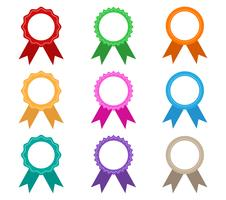 Collection of colorful award ribbons vector set isolated on white background - Vector illustration
