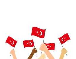 Vector illustration hands holding Turkey flags on white background