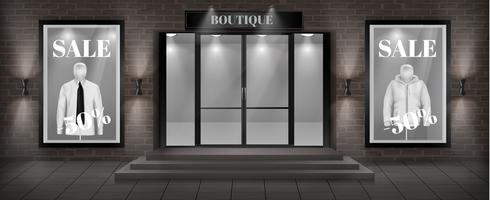 Vector boutique butik fasad med skylt