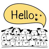 Cute Dog With Say Hello. Illustrazione vettoriale.